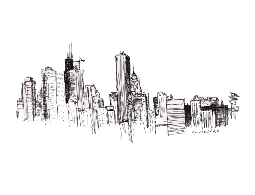 New York Skyline Drawing 1